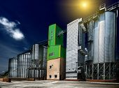 stock photo of silos  - Big grain silos exterior on sunny day  - JPG