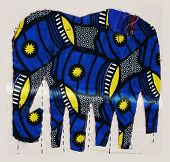 picture of applique  - Fabric applique with blue elephants,  	
