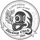 foto of octopus  - Diving club label with coralls - JPG