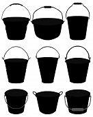 pic of bucket  - Black silhouettes of garden buckets - JPG