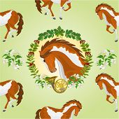 picture of stallion  - Seamless  texture piebald horse head of stallion leaves and french horn hunting theme vector  illustration - JPG
