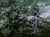 picture of dinosaur  - Aucasaurus dinosaur running among wollemia trees and onychiopsis plants by night  - JPG