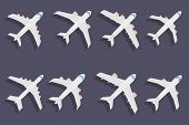 picture of aeroplane symbol  - Vector set of different airplane symbols - JPG