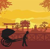 stock photo of rickshaw  - Chinese rickshaw and man silhouette on Asian landscape  - JPG
