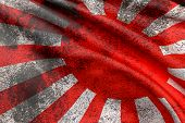 picture of japanese flag  - 3d rendering of an old and dirty japanese flag - JPG