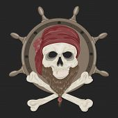stock photo of skull cross bones  - Image Pirate Skull with a beard in bandana - JPG