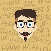 pic of comedy  - laughing guy cartoon character comedy theme vector illustration - JPG
