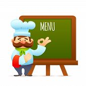 foto of chef cap  - Man restaurant chef cook with menu informational billboard vector illustration - JPG