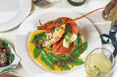 pic of snow peas  - Presentation of whole Crayfish with Snow Peas - JPG