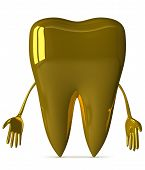 picture of gold tooth  - Sad golden tooth character isolated on white background front view - JPG