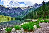 picture of avalanche  - Avalanche lake with reflection in Glacier National Park - JPG