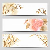 image of hydrangea  - Watercolor vector banners in Oriental style - JPG