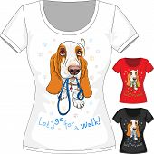 image of hound dog  - Vector women T - JPG