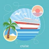 Постер, плакат: Cruise ship and clear blue water Water tourism
