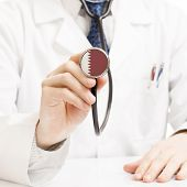 stock photo of qatar  - Doctor holding stethoscope with flag series  - JPG