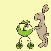 pic of baby easter  - Cute brown Easter bunny with yellow egg in green pram on yellow background - JPG