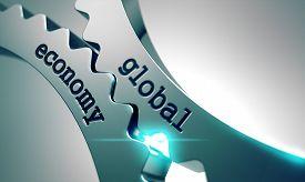 foto of economy  - Global Economy on the Mechanism of Metal Gears - JPG