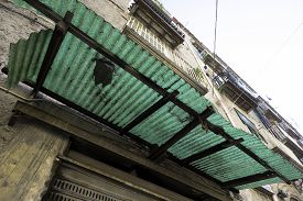 pic of canopy roof  - Transparent canopy in public building in historical center Naples - JPG