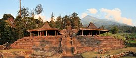 foto of hindu  - Candi Cetho ancient Hindu temple in Balinese style is situated in the mountains near Solokarta near one of the last Hindu communities on the island of  Java - JPG