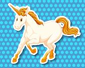 picture of unicorn  - Single unicorn with golden horn and tail - JPG