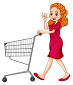 stock photo of grown up  - Woman in red dress pushing shopping cart  - JPG