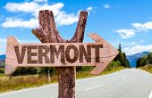 picture of burlington  - Vermont wooden sign with road background - JPG