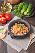 picture of buckwheat  - Buckwheat with meat and vegetables on wooden table rustic style - JPG