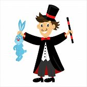 picture of magic-wand  - cartoon character magician holding a magic wand and a rabbit - JPG
