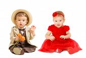 Постер, плакат: Babies Kids Well Dressed Boy Suit Hat Girl Dress Children Fashion Clothing