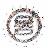 stock photo of bans  - A large group of people in the shape of a ban fast food - JPG