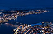 stock photo of tromso  - Arctic city of Tromso with bridge and famous cathedral - JPG