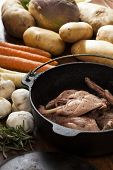 picture of rutabaga  - Cast iron pot of bottled rabbit with vegetables laid our around the pot - JPG
