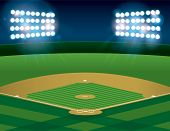 Baseball Softball Field Lit At Night poster