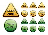 picture of dork  - Twelve orange and green signs with text  - JPG