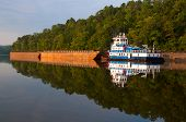 pic of barge  - Blue and white tugboat pushing barges on the Warrior River in Alabama. ** Note: Soft Focus at 100%, best at smaller sizes - JPG
