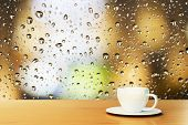 foto of raindrops  - cup of coffee on the background of the window with raindrops - JPG