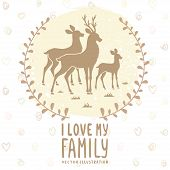 image of deer family  - Stylish card with silhouette of beautiful family deer - JPG