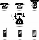 picture of rotary dial telephone  - Set of icon phone - JPG