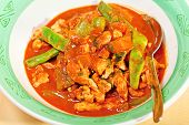 pic of curry chicken  - Thai red curry with chicken carrots peppers and onion - JPG