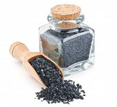 picture of volcanic  - Hawaiian black volcanic salt in a glass bottle isolated on white background - JPG