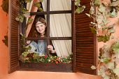picture of country girl  - Young girl in country style near the window - JPG