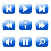 picture of controller  - Multimedia Controller Square Vector Blue Icon Design Set - JPG