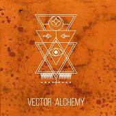 picture of occult  - Vector geometric alchemy symbol with eye - JPG