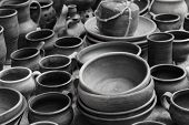 stock photo of pottery  - pottery of the early middle ages exhibition of tableware early middle ages in the historical reconstruction - JPG