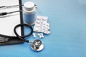 pic of medical supplies  - Medical supplies on blue table close - JPG