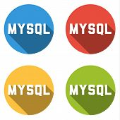 picture of query  - Set of 4 isolated flat colorful buttons  - JPG
