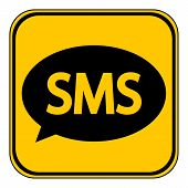 stock photo of sms  - Sms button on white background - JPG