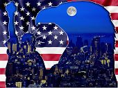 pic of statue liberty  - Patriotic composition about American Eagle and Liberty statue carved into the American flag - JPG