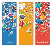 Back To School Vertical BannersSet With Flat Sticker Icons. poster