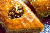 pic of baklava  - Delicious baklava with walnuts closeup East dessert - JPG